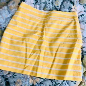 Banana Republic Lemon Yellow Striped Mini Skirt